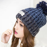 2016 New Fashion Woman's Warm Woolen Winter Hats Knitted Fur Cap For Woman Sooner State Letter Skullies & Beanies 6 Color Gorros