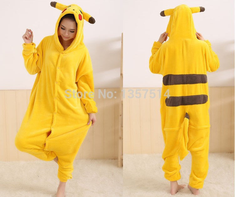 Adults Flannel Pyjama Suits Cosplay Costumes Garment Cute Cartoon Animal Onesies Pajamas Pikachu Halloween Free Shipping