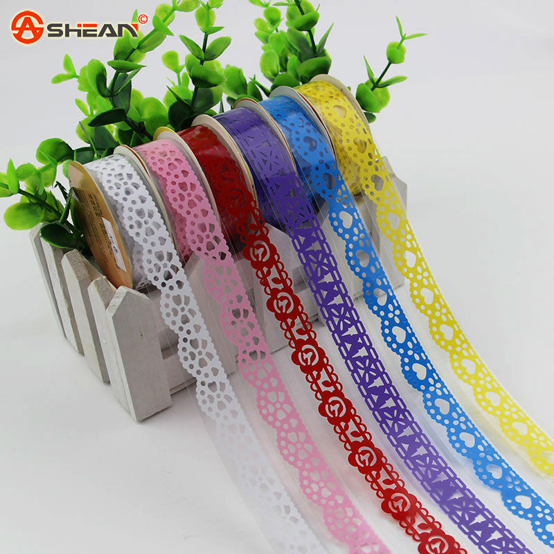 2Pcs Lace Tape Decoration Roll Candy Colors DIY Washi Decorative Sticky Paper Masking Tape Self Adhesive Tape Scrapbook Tape