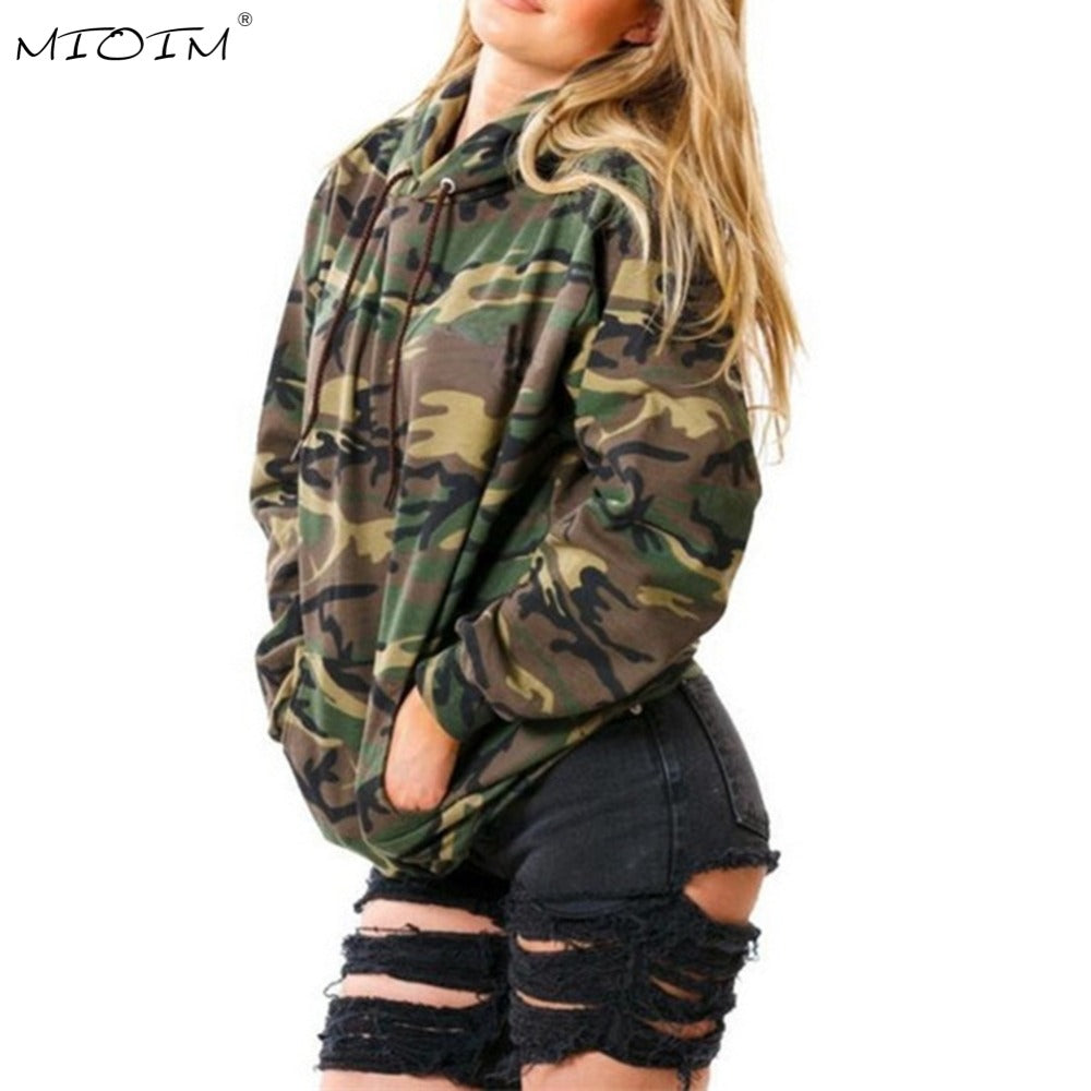 MIOIM Pockets Camouflage Hoodies Women Long Sleeve Loose Hooded Pullovers Womens Sweatshirts Autumn Winter Army Green Outwear