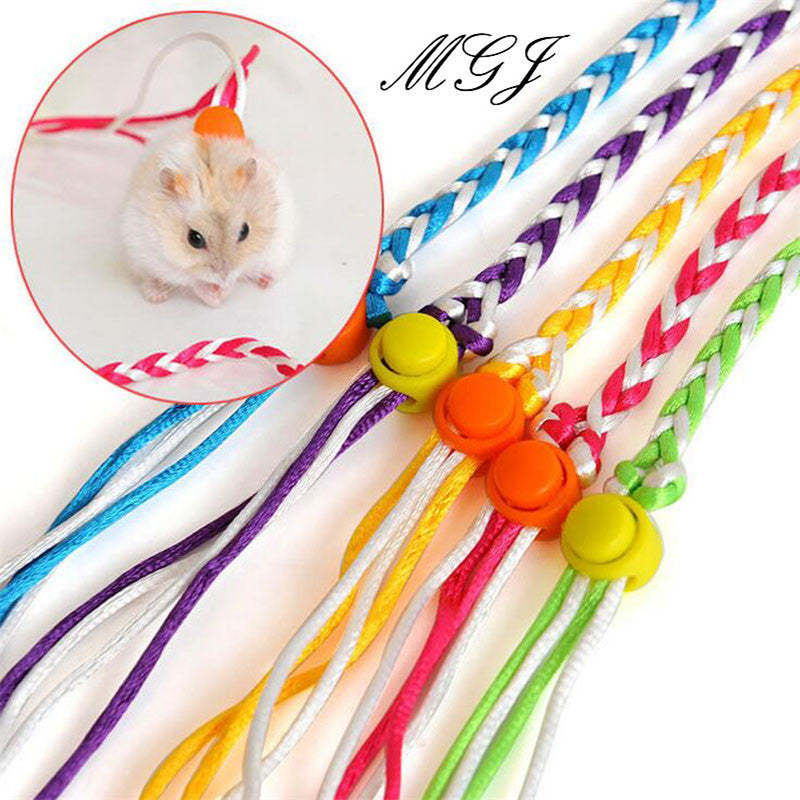 Simple Pet  Hamster Rat Mouse Harness Adjustable Rope Ferret Finder Bell dual-use Leash Lead  Small Pig Bear Mouse Supplies