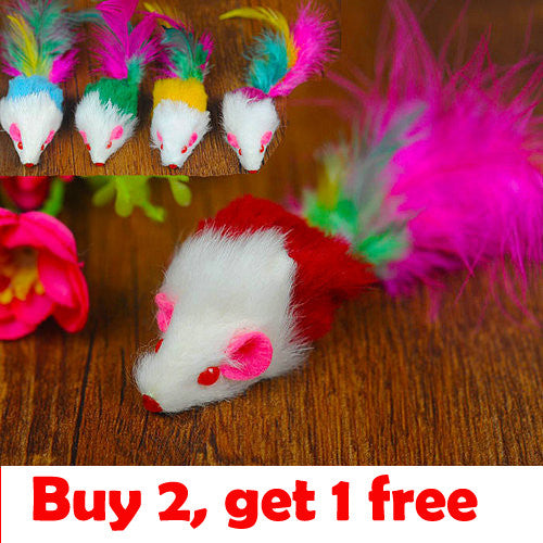 3093# Pet Products Supplies Pet Cat Toys Leather Mouse With Feather Colorful Funny Hot Sale 1PC