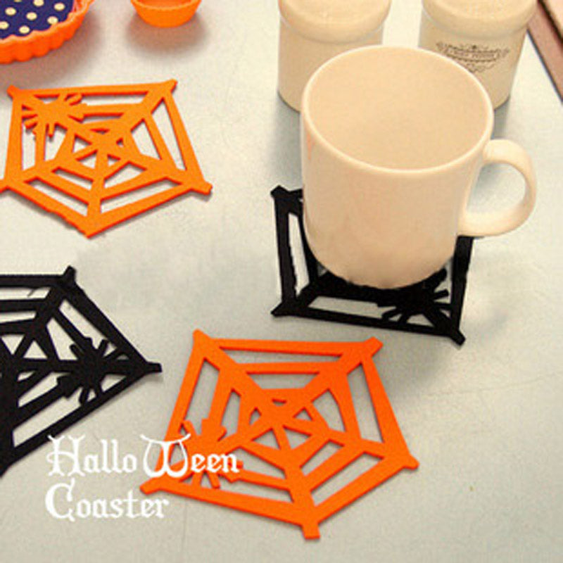 Halloween Supplies Birthday get together Dress up Party Dessert Table decorations Manual Cobweb Coasters Bottle mats #03