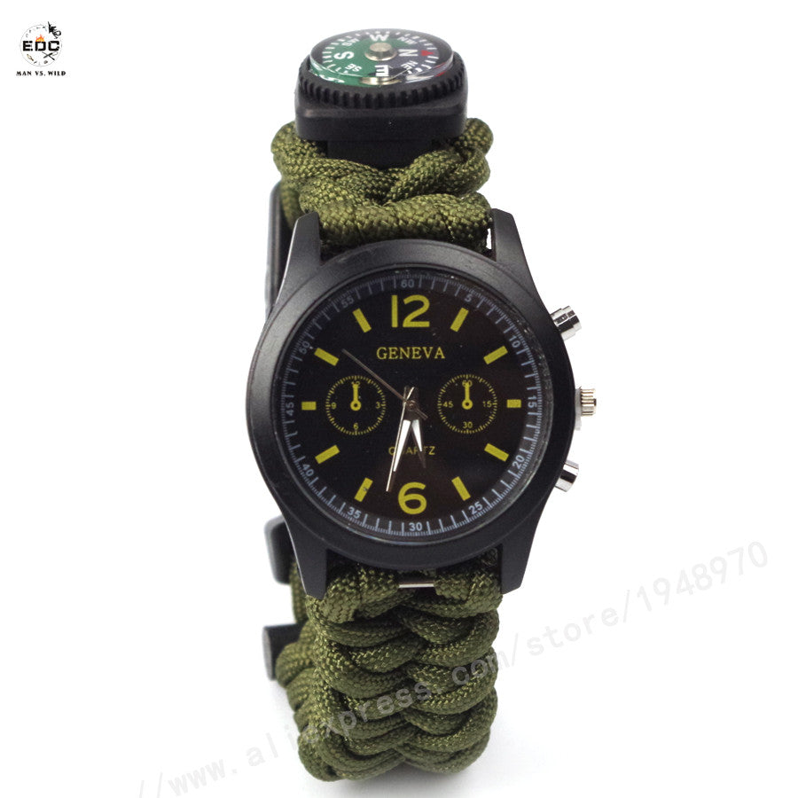 2015 New Outdoor Travel Kit Camping Flint Fire Starter Compass Watch Whistle Survival Gear Paracord Cutting Knife Rescue Rope