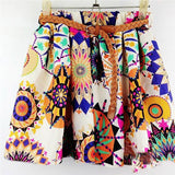 2016 New Arrivals High Waist Women  With Belt Summer Fashion Korean Style Colorful Mini Short  Pleated