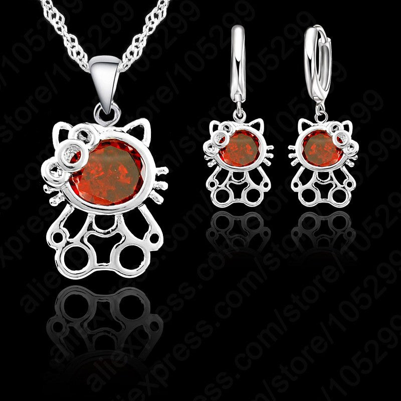 Super Cute Kitty Jewelry Set,925 Sterling Necklace Earring Set,3 Layer Platinum Plated with AAA Qualtiy Austria Crystal Gift