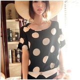 Women Chiffon T-shirts Tops Summer Loose Short Sleeve Ladies Striped Heart Lip Tee Shirt Femme
