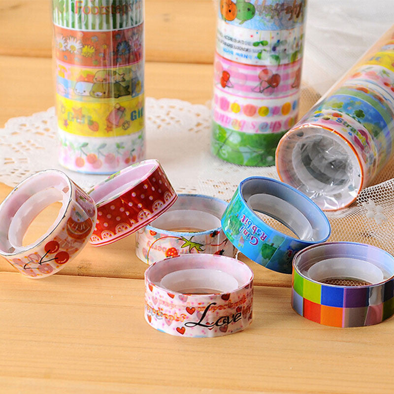 10 pcs/lot cartoon adhesive masking tape decorative sealing tape DIY stationery scrapbooking sticker - Blobimports.com