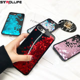 STROLLIFE Love Heart Glitter sequins Dynamic Liquid Quicksand Phone Cases For iPhone 7 7Plus 6 6S 5 SE 5s Soft TPU+PC Back Cover