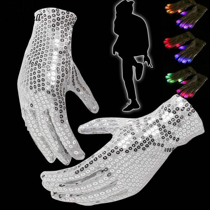 LED Rave Flashing Sequins Gloves Glow 7 Mode Light Up Finger Lighting