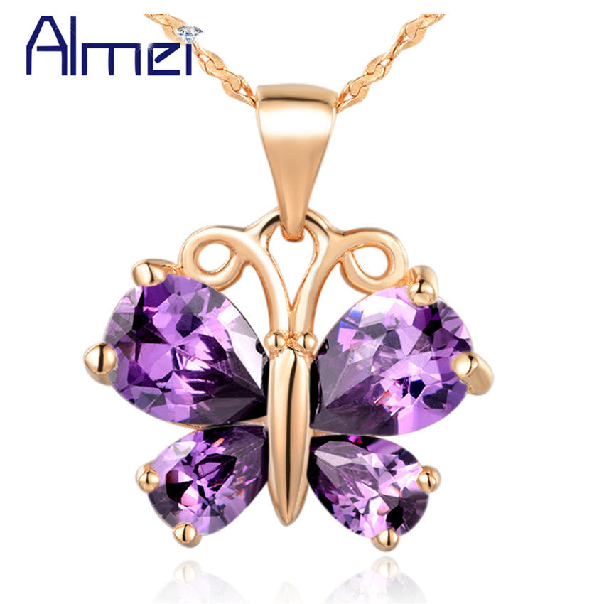 Almei Animal Rose Gold Plated Pendant 925 Sterling Silver Sobretudo Feminino Butterfly 2016 Fashion Jewelry for Women Joias N795