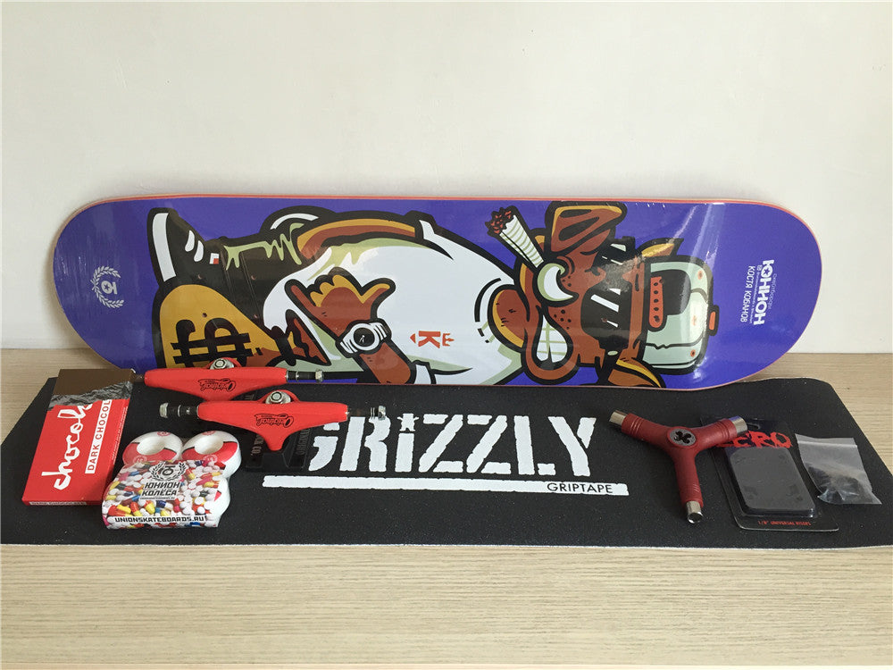 Skateboard Set Completes Union Deck Trucks & Wheels Chocolate ABEC-3 Bearings Plus Hardware Set Riser Pad & Installing Tool