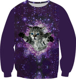 Size XS-6XL New Fashion Galaxy Sweatshirt Print Animal Cat Panda Forest Pizza Hoodies Women Men Long Sleeve Casual Pullover Tops