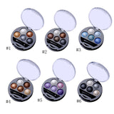New 5 Colors Baked Eyeshadow Eye Shadow Powder Metallic Shimmer Warm Color Shadow Palette With Eyeshadow Brush