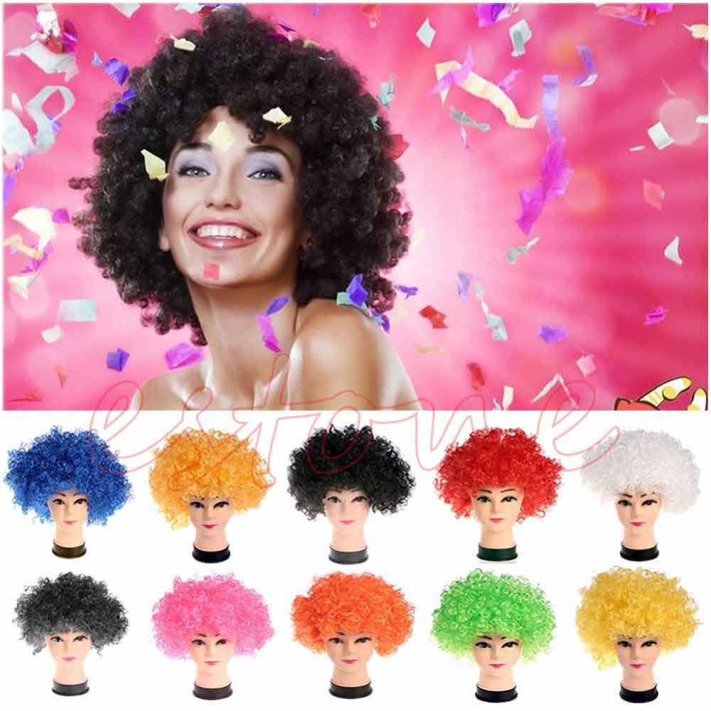 New Style Halloween Costume Holiday Clown Party Explosion Curls Wig Multicolor