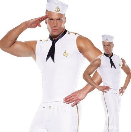 Brand New 2016 Halloween Party Mens Navy Sailors Costumes Fancy Clothes Adult Male Sexy Cosplay With Hats Ties White L XL J1140