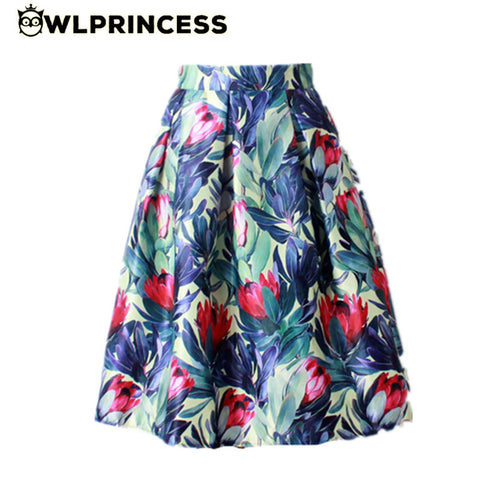 c4097d7ea ... Owlprincess 2016 Summer Women Vintage Retro Satin Floral Pleated Skirts  Audrey Hepburn Style High Waist A