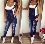 2018 Summer Womens Denim Jumpsuits Overalls Sexy Jeans Office Casual Hole Pocket Spring Autumn Femme Rompers Real Photo