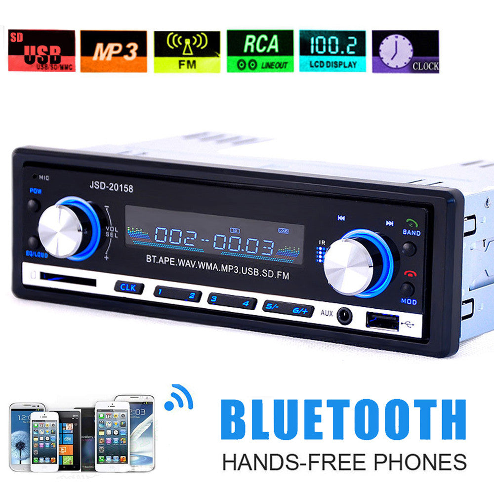 Hot Sale 1 DIN Car Radio Bluetooth MP3 Player Stereo Audio In-Dash FM Radio Aux Input Receiver Support SD USB