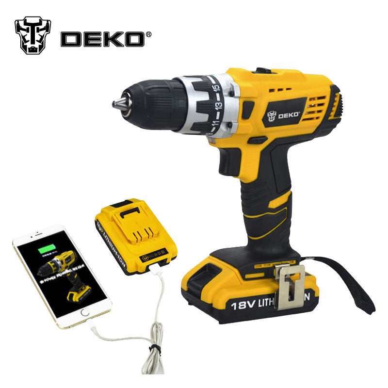 DEKO 18V DC New Design Mobile Power Supply Lithium Battery Cordless Drill Power Tools Mini Drill  Electric Drill