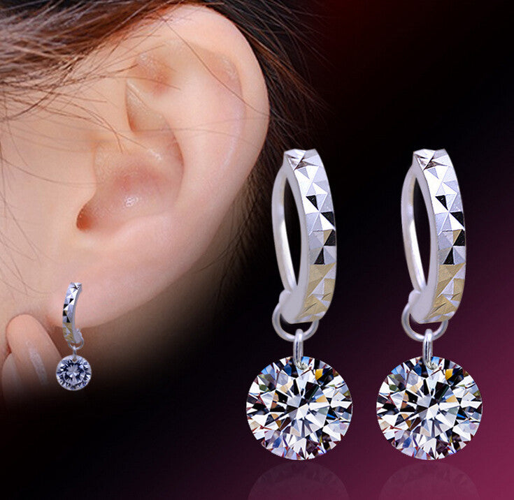 2015 New 925 Sterling Silver Shining Zircon Crystal Ear Studs Earrings For Women 8mm Ball Fine Jewelry