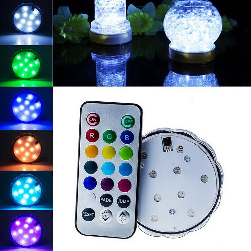 1 PC 10 LED Wedding Decoration Waterproof Submersible LED Party Tea LED Light With Remote For Halloween Christmas Decor VCS73P30 - Blobimports.com
