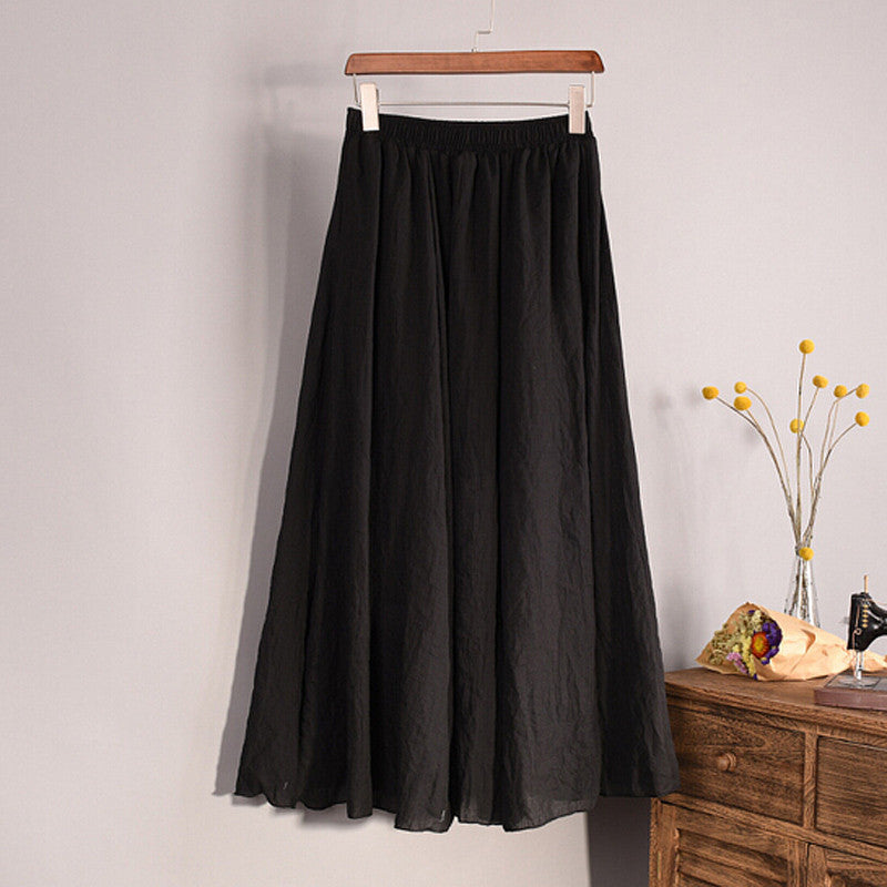 Fashion Women Linen Cotton Long Skirts Summer Autumn 2016 Women Pleated Maxi Skirts Retro Ladies Slim Elastic Waist Casual Skirt