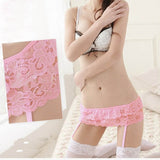 4 Colors Women's Lace Dual Layer Suspender G-String Hold Stocking Garter Belts