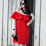 Ruffles Slash Neck Women Dress Summer Style Off Shoulder Vestidos Sexy Solid Dresses Loose Beach Dress Cotton WDA0086