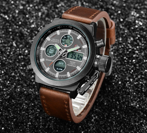Top Brand Luxury Men Swimming Digital LED Quartz Outdoor Sports Watches Military Relogio Masculino Clock With Leather Strap