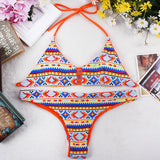 National Style Sexy Halter Bikini Swimsuit Padded Bra Swimwear Suit Triangle Brazilian Beachwear Hot