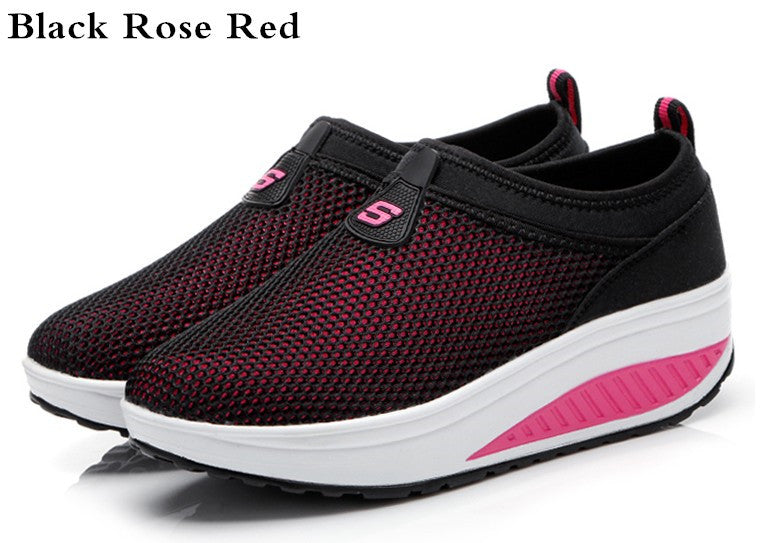 New Slip on Women Casual Shoes Summer 2016 Breathable Mesh Platform Wedge Swing Shoes Outdoor Trainers Zapatillas Mujer