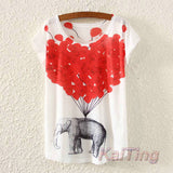 2016 New Fashion Vintage Spring Summer T Shirt Women Clothing Tops Animal Owl Print T-shirt Printed White Woman Clothes