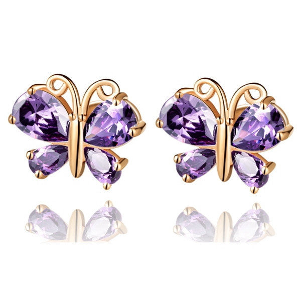 Rose/White Gold Plated Butterfly Earrings for Women Fashion Purple/White Zircon Rhinestones Sterling Silver Jewelry Ulove R435