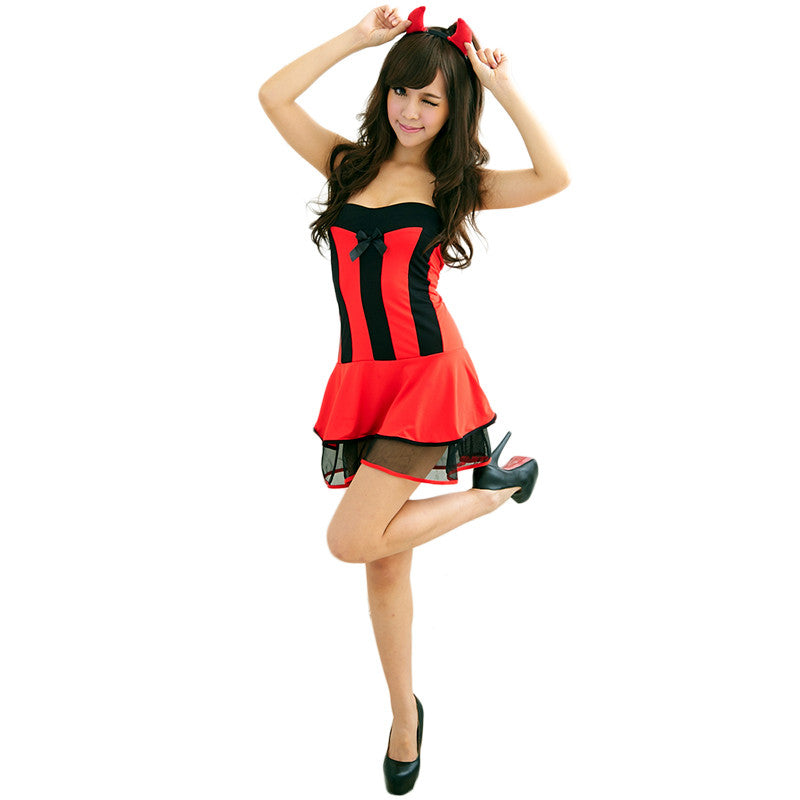 GZDL Women Strapless Sexy Lingerie G-string Thong Set Maid Halloween Costume Babydoll Bodycon Dress Nightwear Sleepwear SY4159