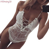 Hot Erotic Sexy Lingerie Pajamas Open Crotch Teddy For Women Lace Porno Babydoll Bandage Tie Bustier Deep V Underwear Costumes