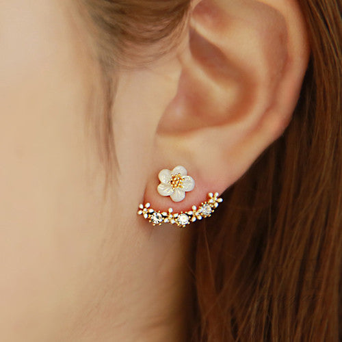 2016 New Korean Style 925 Sterling Sliver Daisy Flower Ear Jacket Shell shape Gold Plated Rhinestone Stud Earrings for women