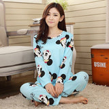 2015 new womens pajamas sweet cotton Animal Cartoon little cat Winter Pajamas Woman Indoor Clothing Home Suit Sleepwear Pyjamas