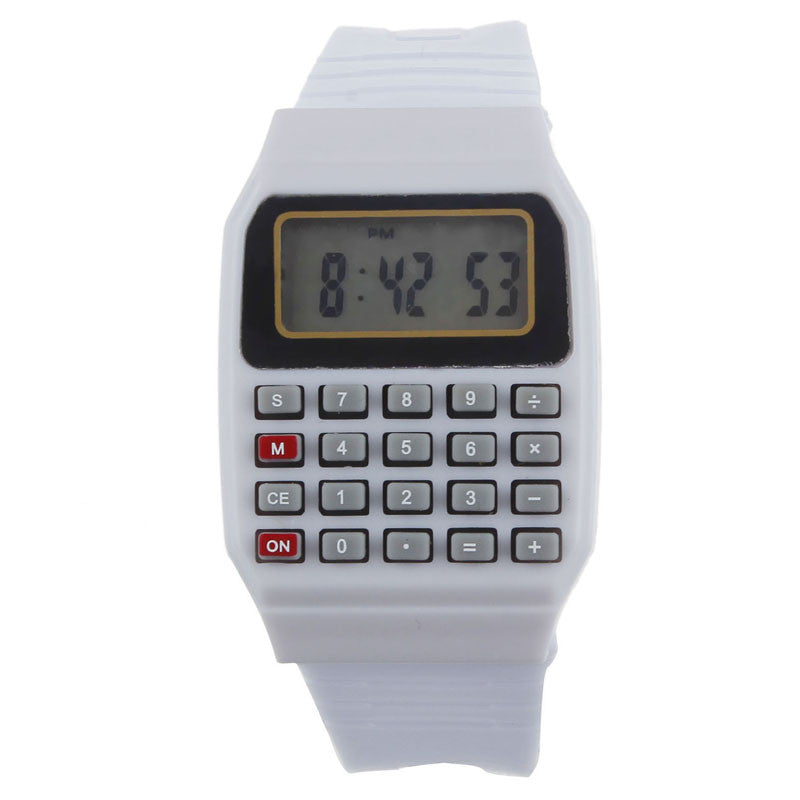 Novel design Unsex Silicone Multi-Purpose Date Time Electronic Wrist Calculator Watch White bb