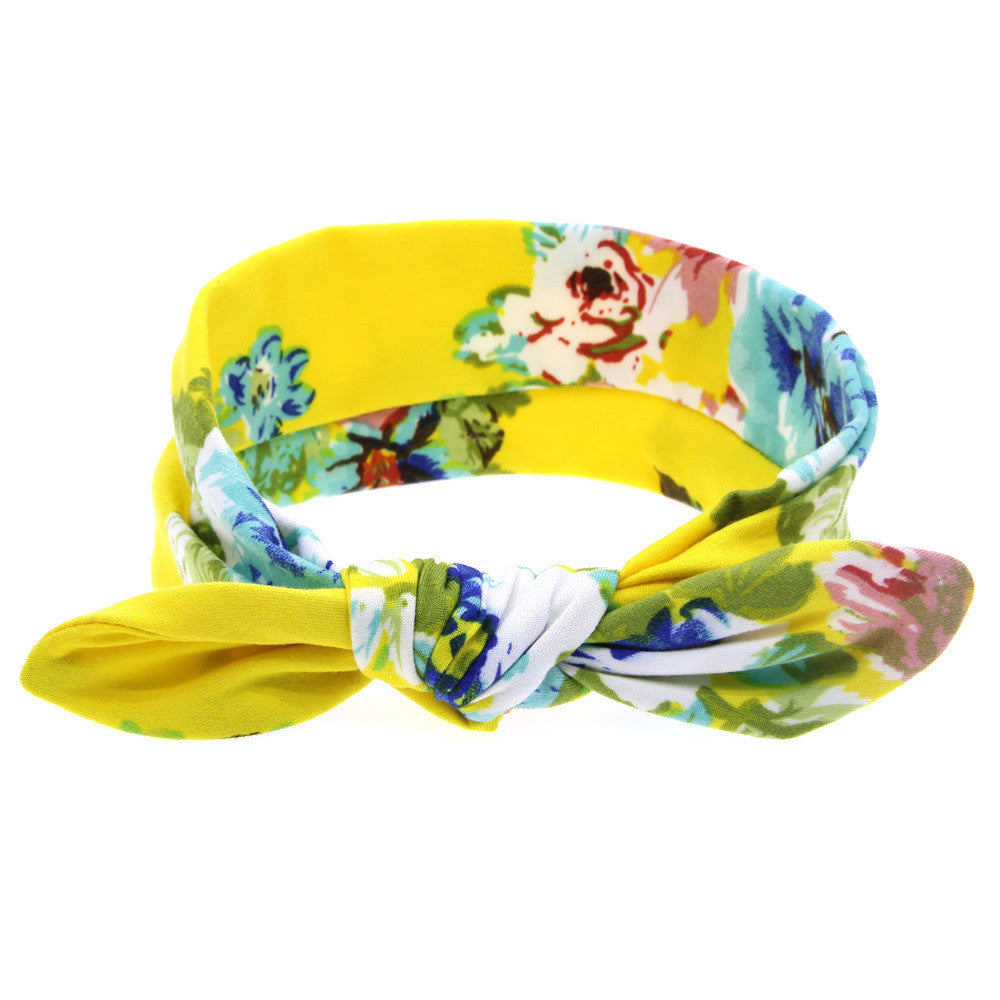 1 pieces 2015 Cute Newborn Baby Cool Girls Printing Knot Elasticity Headband Cotton Children Girls Baby Hair Accessories T14 - Blobimports.com
