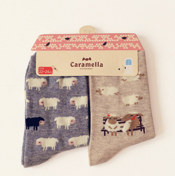 Brand Caramella Spring Autumn Character Cartoon Series Women Cotton Socks For Female Cute Animal Prints Long Socks 2pairs/lot