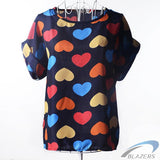 European and American plus size women clothing heart printing t shirt women short-sleeved women tops summer roupas femininas