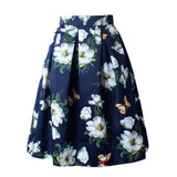 Owlprincess 2016 Summer Women Vintage Retro Satin Floral Pleated Skirts Audrey Hepburn Style High Waist A-Line tutu Midi Skirt