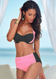 2016 New Sexy Bikinis Women Swimsuit High Waisted Bathing Suits Swim Halter Top Push Up Bikini Set Beach Plus Size Swimwear XXXL