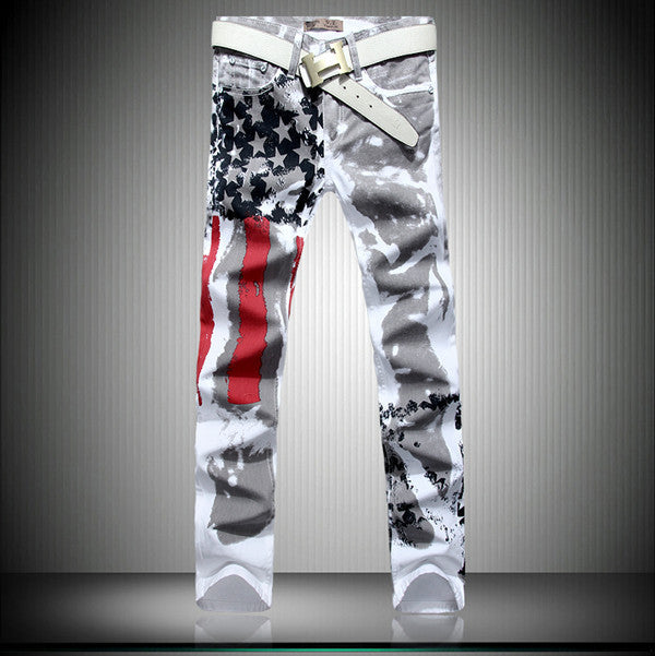 Big size 28-48 Brand Men's pants 2016 New White Printed Fashion Men Jeans Slim Stretch Printing American Flag Jeans Hombre