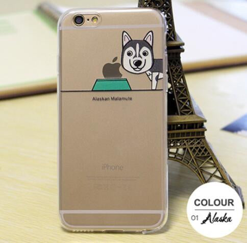 Cartoon Dog Soft Clear Transparent Back Cover Shepherd Poodle Pug Labrador Case Cover For Apple iPhone5 5s 6 6s 6plus phone Case