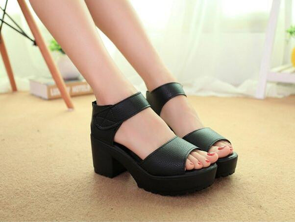 Fashion Sandals Women Summer shoes 2016 wedges Open Toe Thick Heel Mujer Soft PU Women Platform Sandals high-heeled Shoes Woman