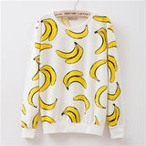 New 2016 autumn style Hoodies women Banana print women's o-neck tracksuits Hoodies harajuku women Sweatshirts