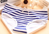 Hot Brand Panties Stripes Navy High Quality Bowknot Tanga Lovely Cute Sexy Underwear Women Panties Cotton Briefs 3NK064