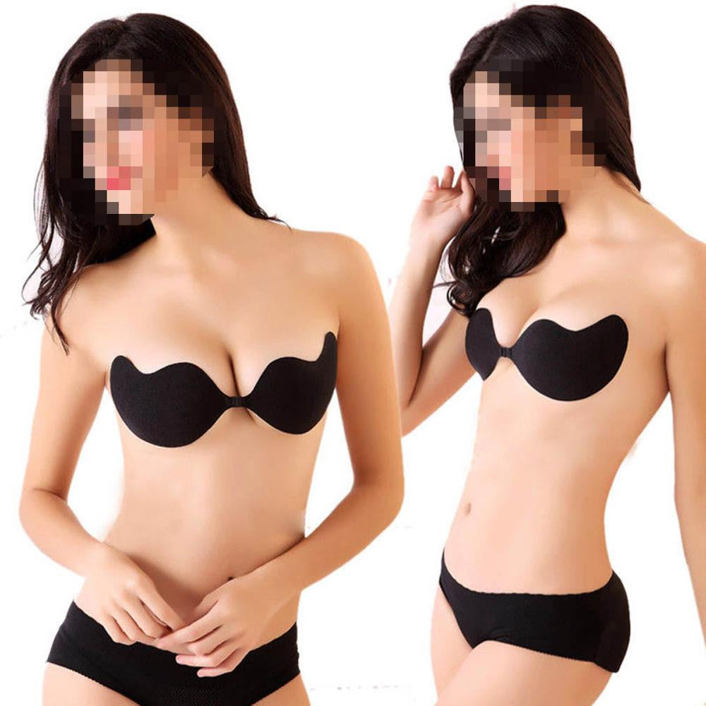 Sexy woman Push Up Self-Adhesive Silicone Bust Front Closure Strapless Invisible bra